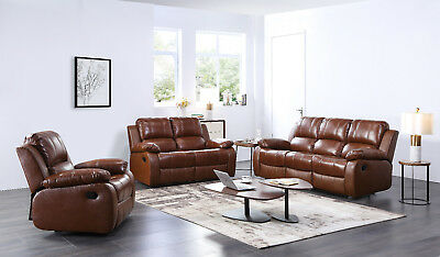 Genuine Real Leather Tan Recliner Sofas Set Suite 3+2+1 Seater New Sofa Couches