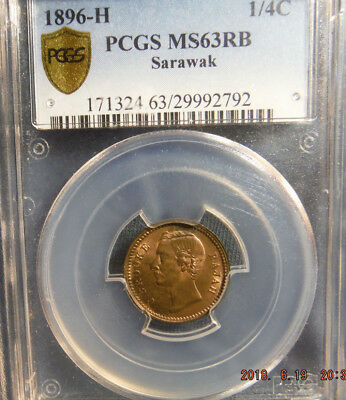 1896-H Sarawak PCGS MS63 RB 1/4 Cent Coin - Bright Detailed  Coin