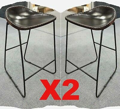 Set of 2 Freddy Rustic Dark Brown Leather 640mm Bar Stools - ON PROMOTION