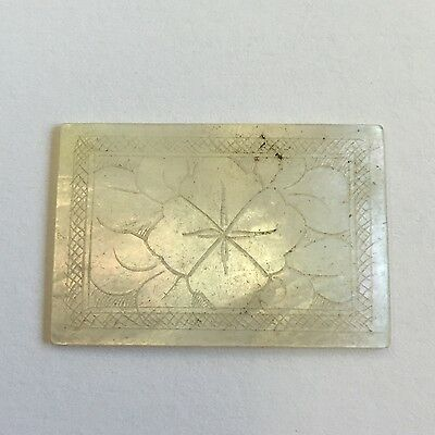 1 X Antique Mother Of Pearl Chinese Gaming Counter Rectangular Leaf Design