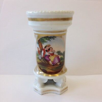 Antique 19th Century French Porcelain Spill Vase Painted With Figures Under Tree