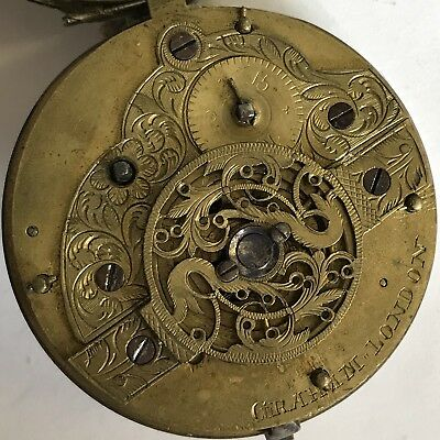 Antique 18th Century Verge Pair Case Pocket Watch Graham London A/F