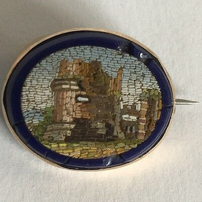 Antique 19th Century Micro Mosaic Ruin Architectural Brooch 21mm X 17mm A/F