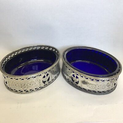 Antique Fine Georgian Pair Solid Silver Salts Sellers Robert Hennell 1783