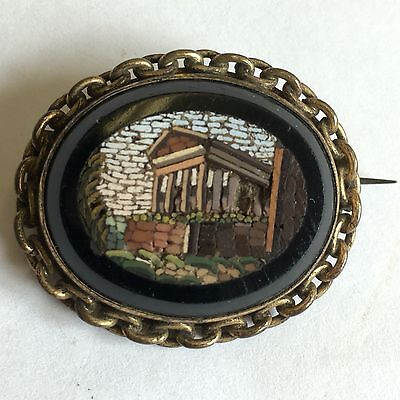 Antique 19th Century Micro Mosaic Rome Architectural Brooch Grand Tour 33mm A/F