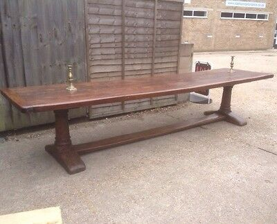 Antique Early Solid Oak Refectory Table 12ft X 3ft Column & Stretcher Plank Top