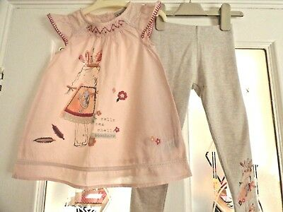 Girls Next Leggings and Pink Smock Top outfit pretty lace sequin Age 2-3 years