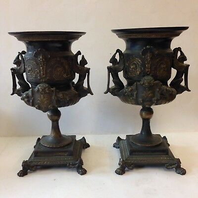 Antique Pair Of French Bronze Empire Style Urns 30.5cm High