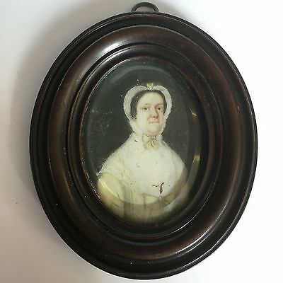 Antique Portrait Miniature Of A Regency Lady In Mahogany Frame