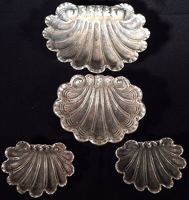 Antique Set Of Four Solid Silver Hallmarked 800 Shell Shaped Salts Detailed