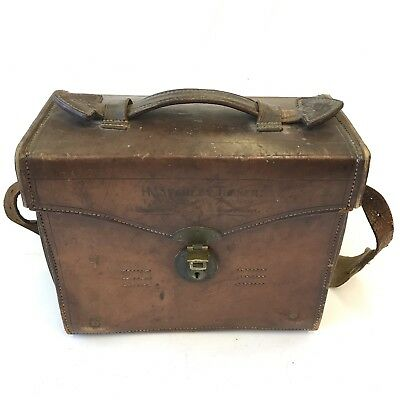 Antique Gregory & Co Leather Fitted Ammunition / Cartridge Bag Military Interest