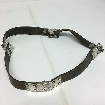 "Antique Silver & Leather House Keepers Belt Charles Dumenil 1881 38"" Rare"