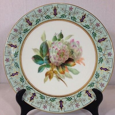 """Antique Royal Worcester Hand Painted Dessert Plate Flowers 9"""". #"""