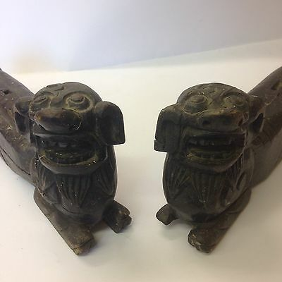 Antique Pair Of Chinese Carved Wooden Foo Dogs 30cm Long Rare