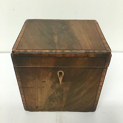 Antique Regency Mahogany Crossbanding  Tea Caddy Single Section Lovely Piece
