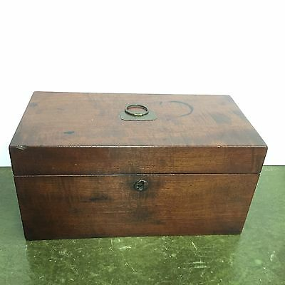 Antique Mahogany Tea Caddy Two Section Red Felt Lined Top Lovely Piece