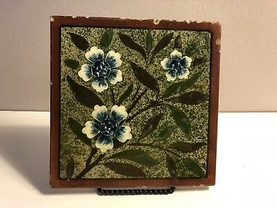 Antique Josiah Wedgwood & Sons Etruria Patent Impressed Green Floral Tile