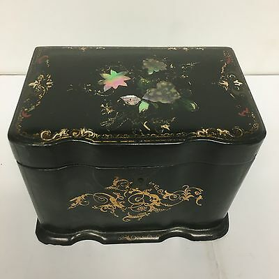 Antique Victorian Papier Mache Tea Caddy Lovely Piece Two Section