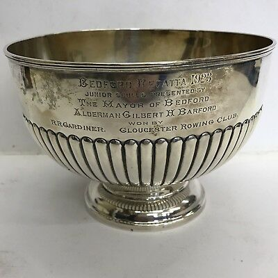 Antique Solid Silver Rose Bowl Barraclough 1903 433g 18cm Rowing Interest