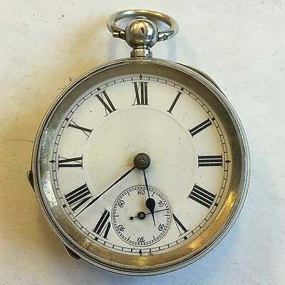 Antique Solid Silver Pocket Watch Swiss Working 54mm