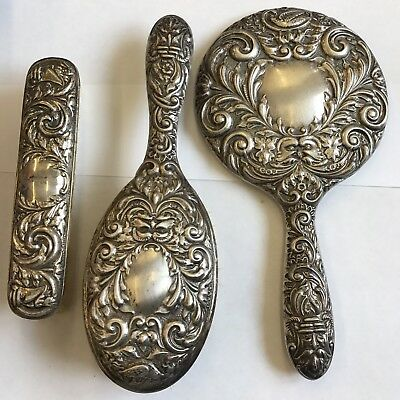 Antique Style Solid Silver Hand Mirror, Cloths & Hair Brush W I Broadway 1973