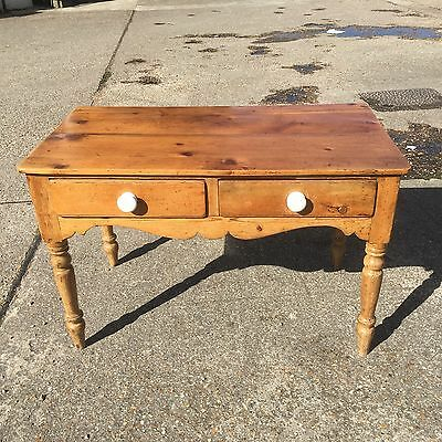 Antique Victorian Solid Pine Side Table Two Drawer Writing Table Country W 46""