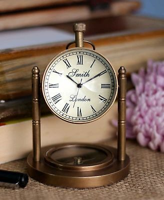 Antique Desktop Clock Nautical Brass With Compass Home Office Decor Desk Top