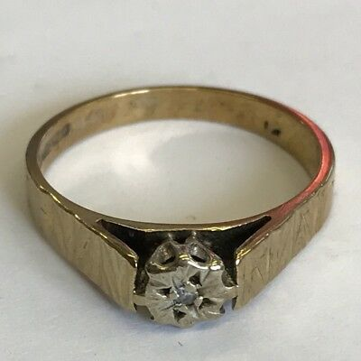 Vintage 9ct Solid Yellow Gold Illusion Set Diamond Solitaire Ring Size N1/2