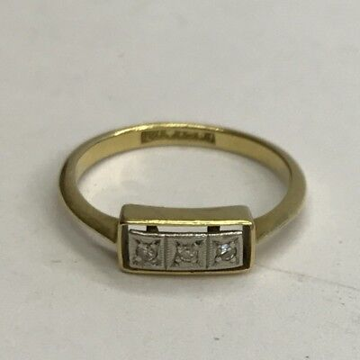 Vintage Art Deco Solid 18ct Gold 3 Stone Diamond Trilogy Cocktail Ring Size I1/2