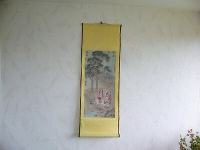804K01 Rollbild Japan oder China Kakejiku Kakemono Hanging scroll Pferd Personen