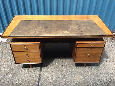 Large Angular 1960S Danish Style Teak Desk Leather Top Retro Mid-Century