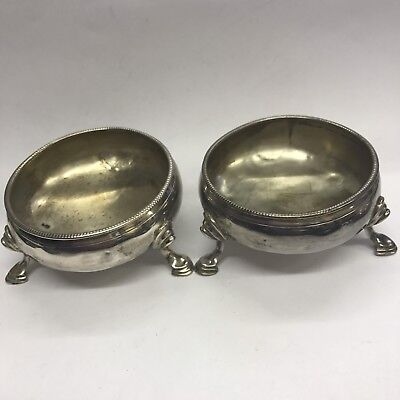Pair Of Antique Georgian George III Solid Silver Salt Cellar's 1816 A/F Repaired