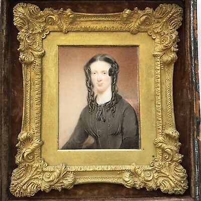Fine Antique Portrait Miniature A Girl / Young Lady Gilt Bronze / Ormolu Frame