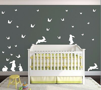 Top Quality Bunny and Butterflies Vinyl Matte Wall Art Decal Pack. Nursery Kids