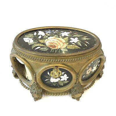 Fine Gilt Metal Mounted Pietra Dura Panelled Trinket / Jewellery Box A/F Damaged