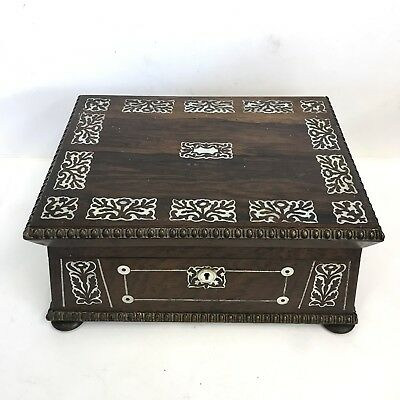 Fine Quality Antique Georgian Sarcophagus Rosewood & Mother Of Pearl Sewing Box