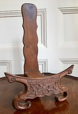 A Large Antique Chinese Carved Wood Bowl Or Plate Stand. Qing, 19th Century.