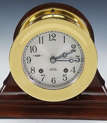 Vintage Chelsea Ships Bell Chiming Brass Mantle Clock