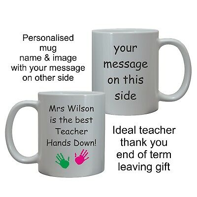 Personalised Teacher Mug Cup End Of Term Leaving School Thank You Christmas Gift