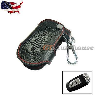 Genuine Leather Remote Smart Key Fob Case Holder Cover Chain For Audi