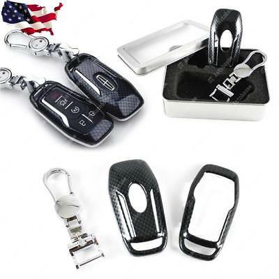 Carbon Fiber Pattern Remote Smart Key Chain FOB Case Shell For Lincoln Ford