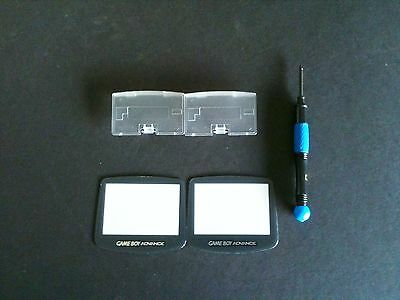 2 Screens + 2 Glacier Battery Covers + 1 Blue Tri-wing Screwdriver for GBA