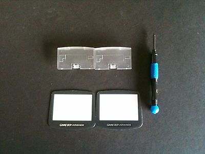 2 Screens + 2 Clear Battery Covers + 1 Blue Tri-wing Screwdriver for GBA