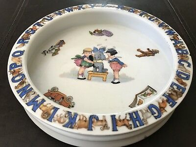 Antique German Child's Plate With Alphabet Must See