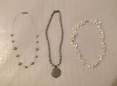 Lot of natural pearl Necklaces Green Pearl Jasper Sterling Silver 14k Clasps