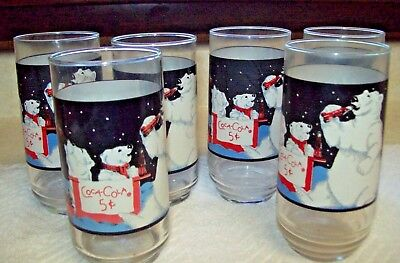 Coca Cola Coke Glasses Set Of 6 Polar Bears & Always Coca Cola Sign 1995