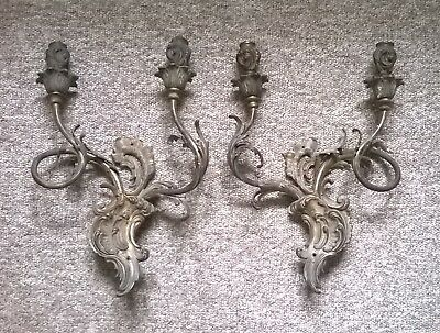 Pair of Antique Brass Rococo Wall Lights