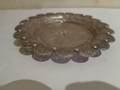 Old Silver Very Fine Hand Made India or Persian Filigree Tray Dish