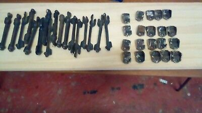 ANTIQUE STAIR CARPET CLIPS x 17 rods Iron copper runner industrial vintage