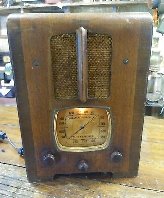 Old Antique Wood Emerson Ingraham Vintage Tube Radio -Restored Working Tombstone